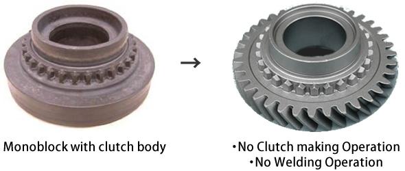 Monoblock with clutch body